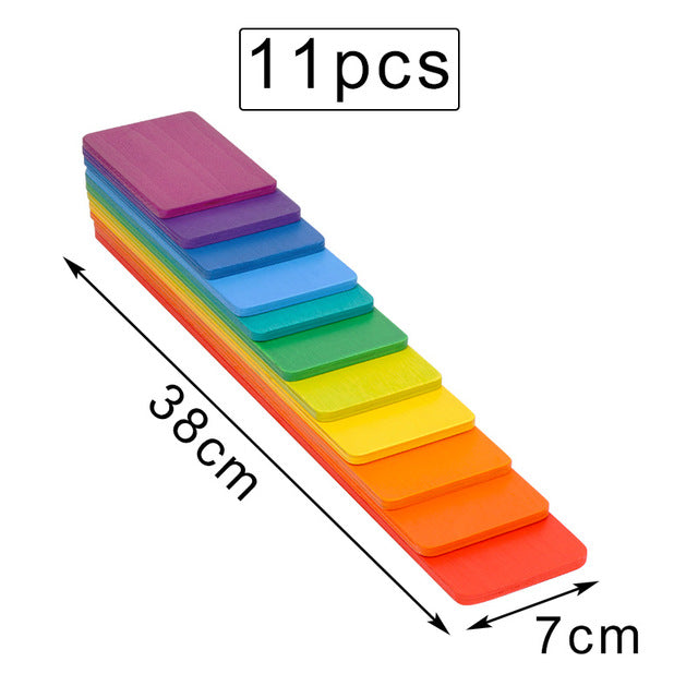 Baby Toys Large 12Pcs Rainbow Stacker Wooden Toys For Kids Creative Rainbow Building Blocks Montessori Educational Toy Children