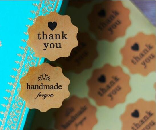 360  HAND MADE Self-Adhesive  Thank You Stickers
