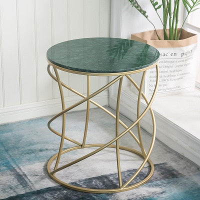 Weaving Round Creative Golden Metal Marble Coffee End Tables Storage Plate Tray Home Living Room Furniture Sofa Side Nightstand