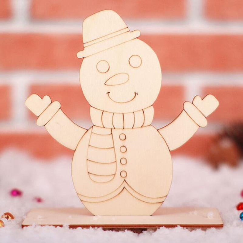 Creative Christmas Wood Board Painting Blank Children DIY Coloring Painting Graffiti Material Xmas Gift Decor