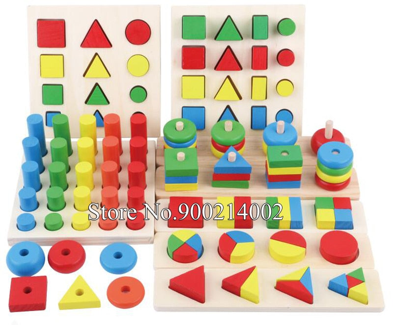 8pcs/set Kids Educational DIY Blocks Toy 3D Wooden Teaching Aids Geometric Shape Cognitive Matching Puzzles Color Sorting Board