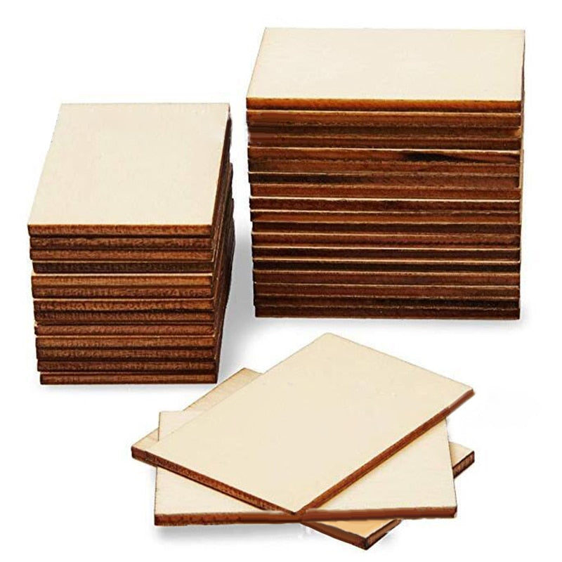 120pcs Rectangle Wooden Pieces Boards For Wedding Party Craft Decor Gift DIY 5*4cm wood craft
