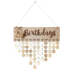 1pcs Wall Wooden Creative Birthday Reminder Home Decor Hanging Plaque Board Calendar DIY Calendar Birthday Board