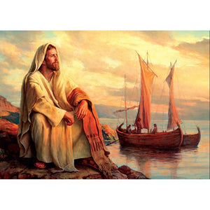 5D Diamond Painting Christianity Portait Jesus Full Square Drill Full Round Mosaic Room Wall Sticker