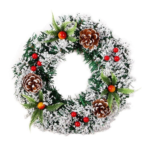 Large Handmade Christmas Wreath For Door Wall Ornament Garland Decoration Fake Fruit Pine Christmas Decor For Home