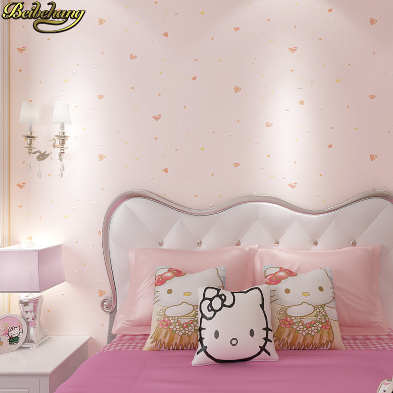 Beibehang  Heart-Shaped Striped Wallpaper For Children's Room