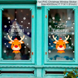 Removable Xmas Window Wall Sticker Merry Christmas Tree Snowman Christmas New Year Gift Shop White Red Christmas Home Decoration