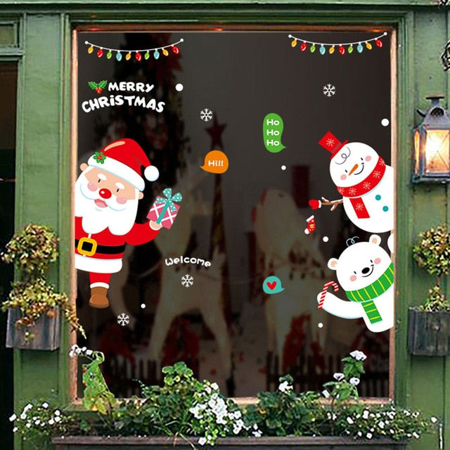 2020 Near Year Christmas Wall Stickers Cartoon Snowman Santa Claus Window Sticker Christmas Decorations For Home Decor Sticker