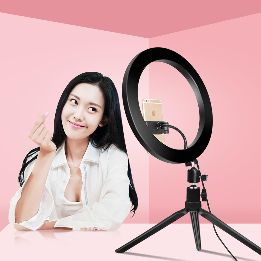 USB Dimmable LED Selfie Ring Light Makeup Lamp Cellphone for Live Stream