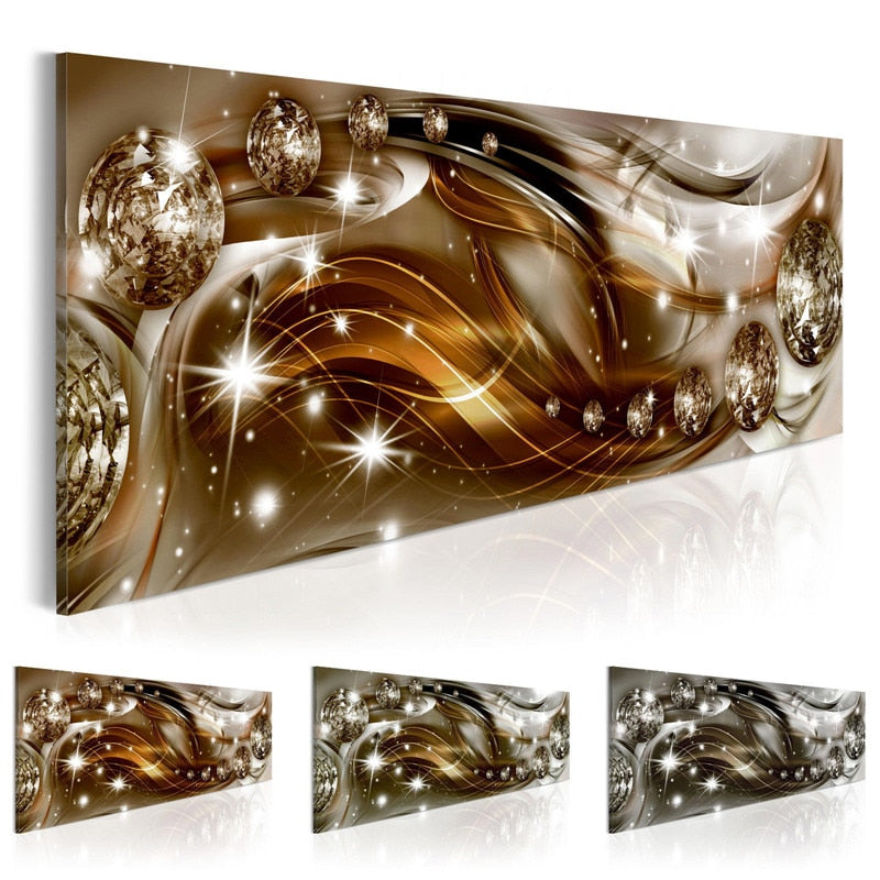 Golden Abstract Wall Art Diamonds Canvas Painting Texture Posters and Prints