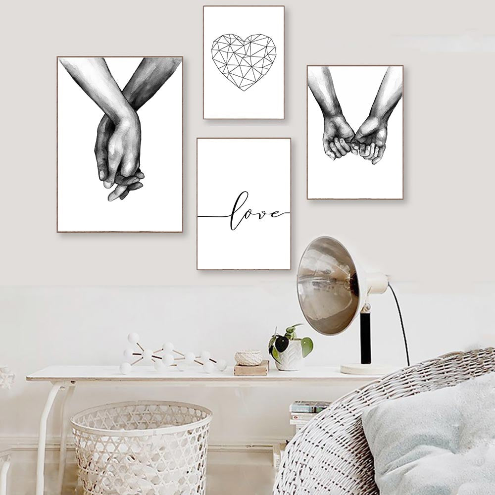 Love Poster Couple Holding Hands Painting Black And White Wall Art Canvas
