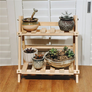 2Tier BambooWooden Plant Flower Floor Stand Shelves Rack Plant Flower Display Stand Shelf Storage Rack Outdoor Holder Garden