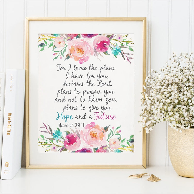 Bible Verse Jeremiah 29:11 Scripture Christian Wall Art Posters Prints Watercolor Flowers Canvas Painting Pictures Home Decor