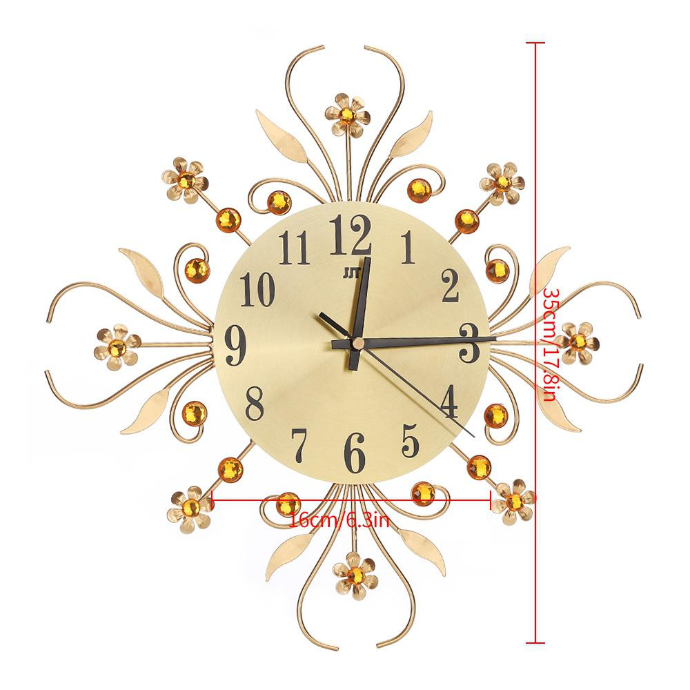 European Metal Wall Clock Modern Design Gold Lower Watch Mechanism Silent for Living Room Relogio Parede 50ZB111 Home Decor