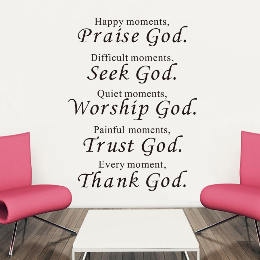 Bible Wall Stickers Home Decor Praise Seek Worship Trust Thank God Quotes