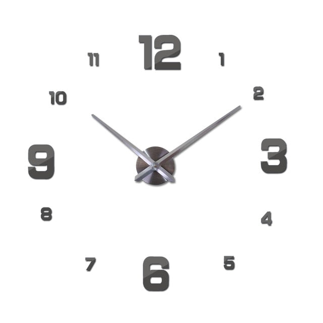 New Wall Clock Clocks Watch Horloge Murale DIY 3D Acrylic Mirror Sticker Large Home Quartz Circular Needle Modern Free Shipping
