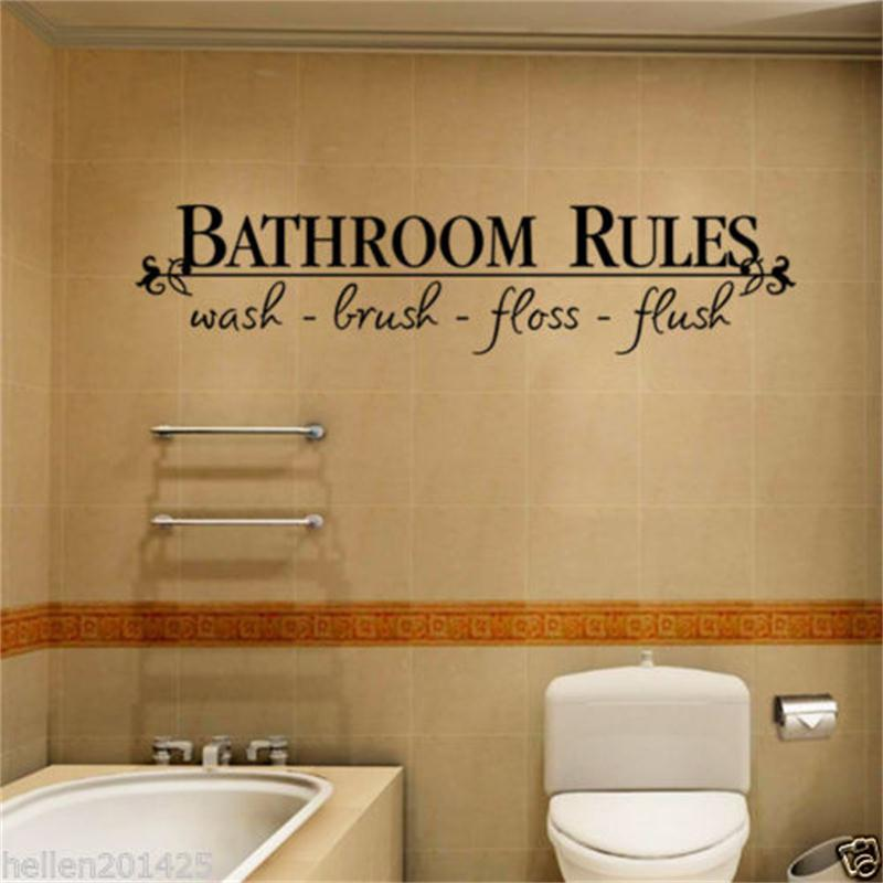 Decor Decals Stickers Vinyl Art Home Garden Toilet Flush It Rules Bathroom Signs Restroom Wall Decor Bathroom Rules