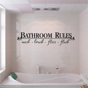 Bathroom Rules Door Sign Vinyl Quotes Lettering Words Wall Stickers Bathroom Toilet Washroom Decoration