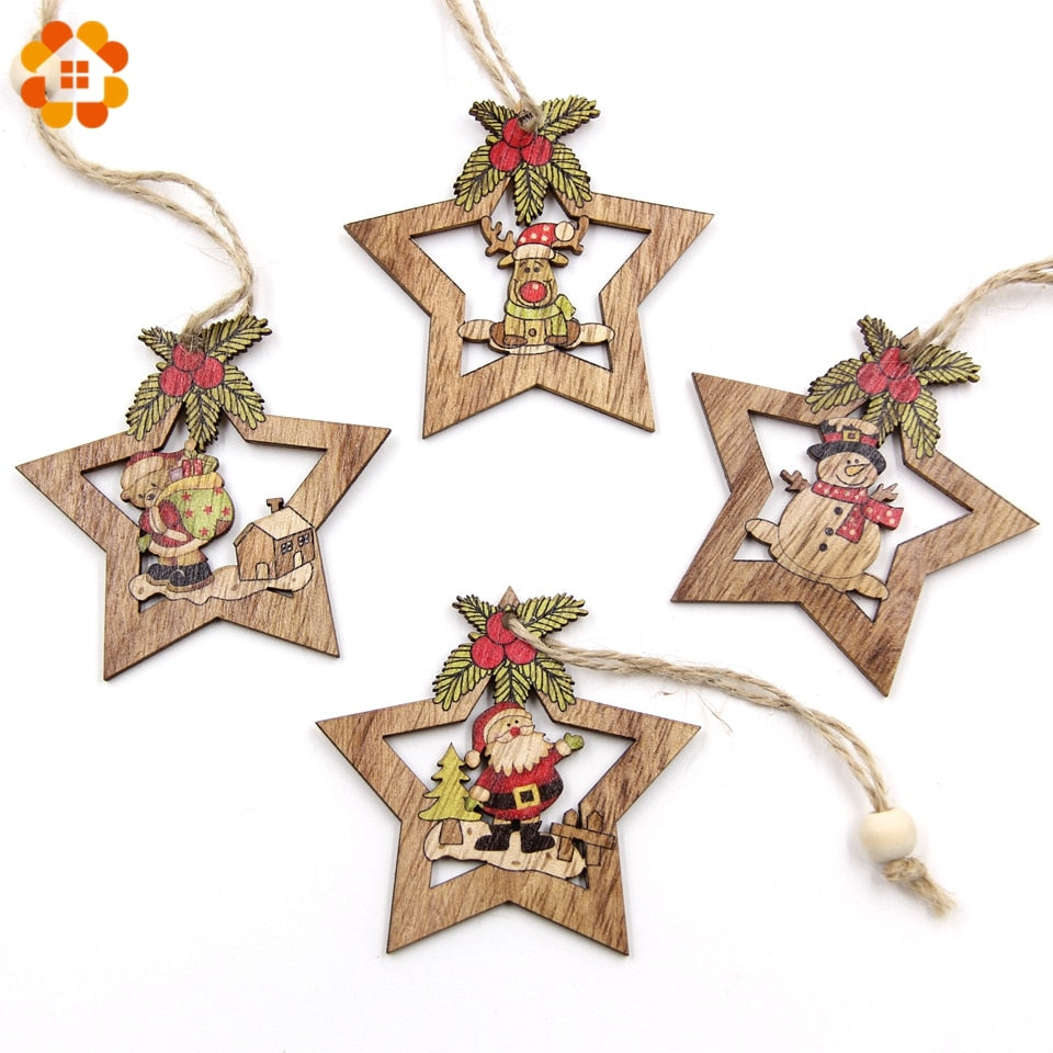 4PCS Christmas Star Wooden Pendants Ornaments Xmas