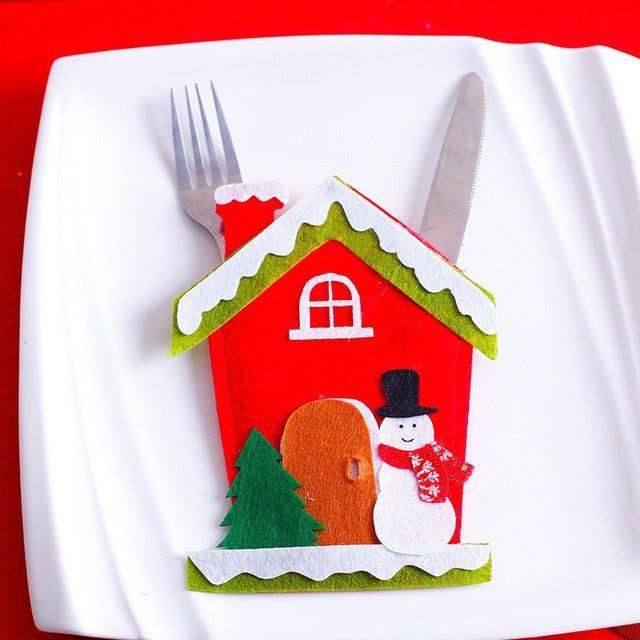 Santa Hat Reindeer Christmas New Year Pocket Fork Knife Cutlery Holder Bag