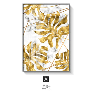 Nordic Plants Golden Leaf Canvas Painting Posters And Print Wall Art Pictures For Living Room Bedroom Dinning Room Modern Decor