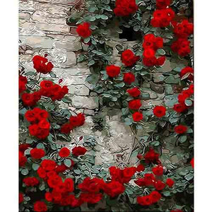 BAISITE DIY Framed Oil Painting By Numbers Flowers Pictures Canvas Painting