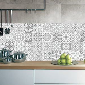 Waterproof 3D Retro Pattern Tile Floor Sticker Fabulous For Bathroom/Kitchen/Wall
