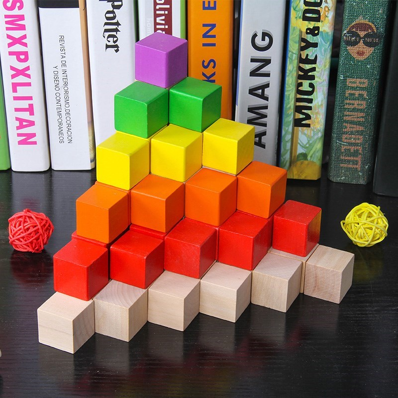 100pcs Colorful building Wooden Chopping Block Baby Geometric Shape Educational Wooden Toys Baby Toy Game Gifts for Children