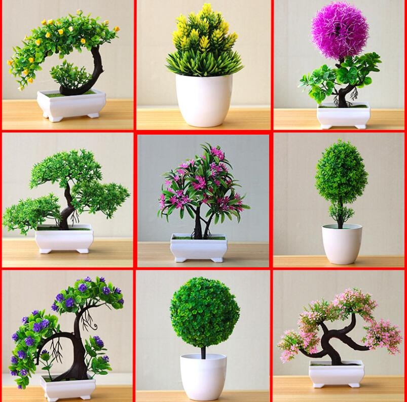 NEW Artificial  Bonsai Small Tree Pot Plants Fake Flowers Potted Ornaments For Home/Hotel Garden Decor