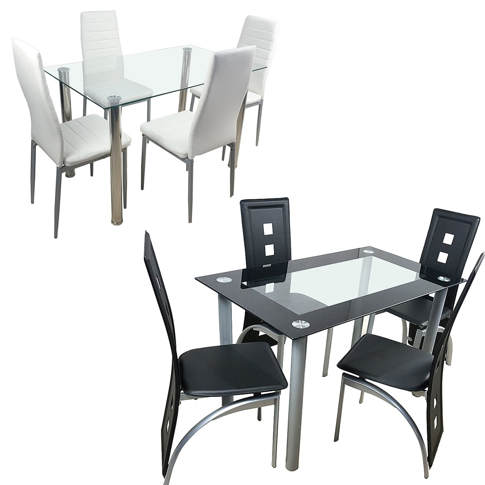 Dining Table Set Glass Steel w/4 Chairs