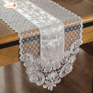 Beige Proud Rose Lace Table Runner