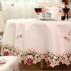 Beige Round Proud Rose Embroidered Tablecloth