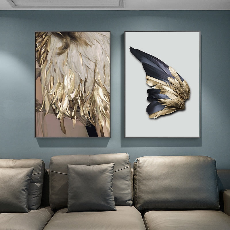 Nordic Decor Feathers Canvas Painting White Poster and Print Unique Modern Golden Wings Wall Art for Living Room Bedroom, Aisleisle