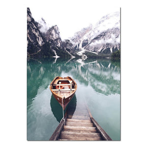 Scandinavian Boat Lake Canvas Poster