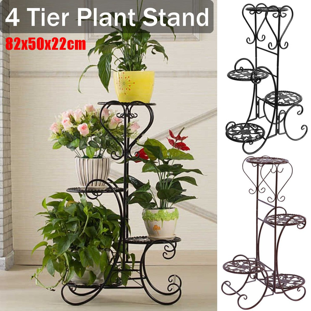 4 Tier Metal Shelves Flower Pot Plant Stand Flower Plant Display Stand Rack Indoor Outdoor Garden Patio Base Holder Shelf New