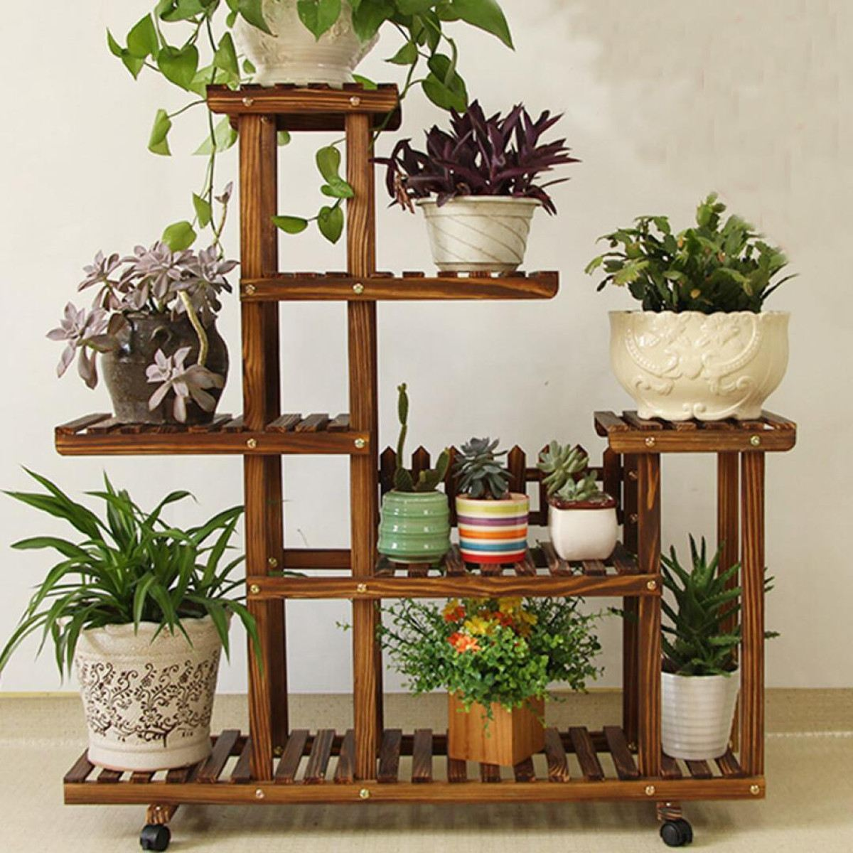 Bamboo Plant Flower Pot Stand Garden Planter Nursery Pot Stand Shelf Indoor Outdoor Garden Decoration Gifts Tools With Wheels