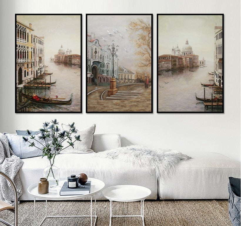 Water City Landscape Canvas Paintings Modular Pictures Wall Art