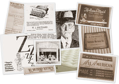 Collage of images showing the history of WJ Southard making latex mattresses.