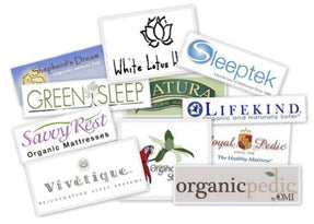 Collage of logos of organic mattress companies