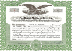WJ Southard Mattress Stock Certificate