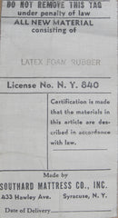 Mattress Law Tag from 1950 using Latex foam rubber
