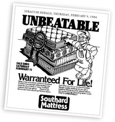 Ad for WJ Southard's lifetime warranty