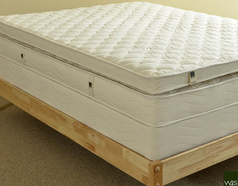 Exterior of a natural latex mattress with pillowtop
