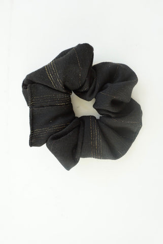 Holiday Black with Gold Stripe Scrunchie