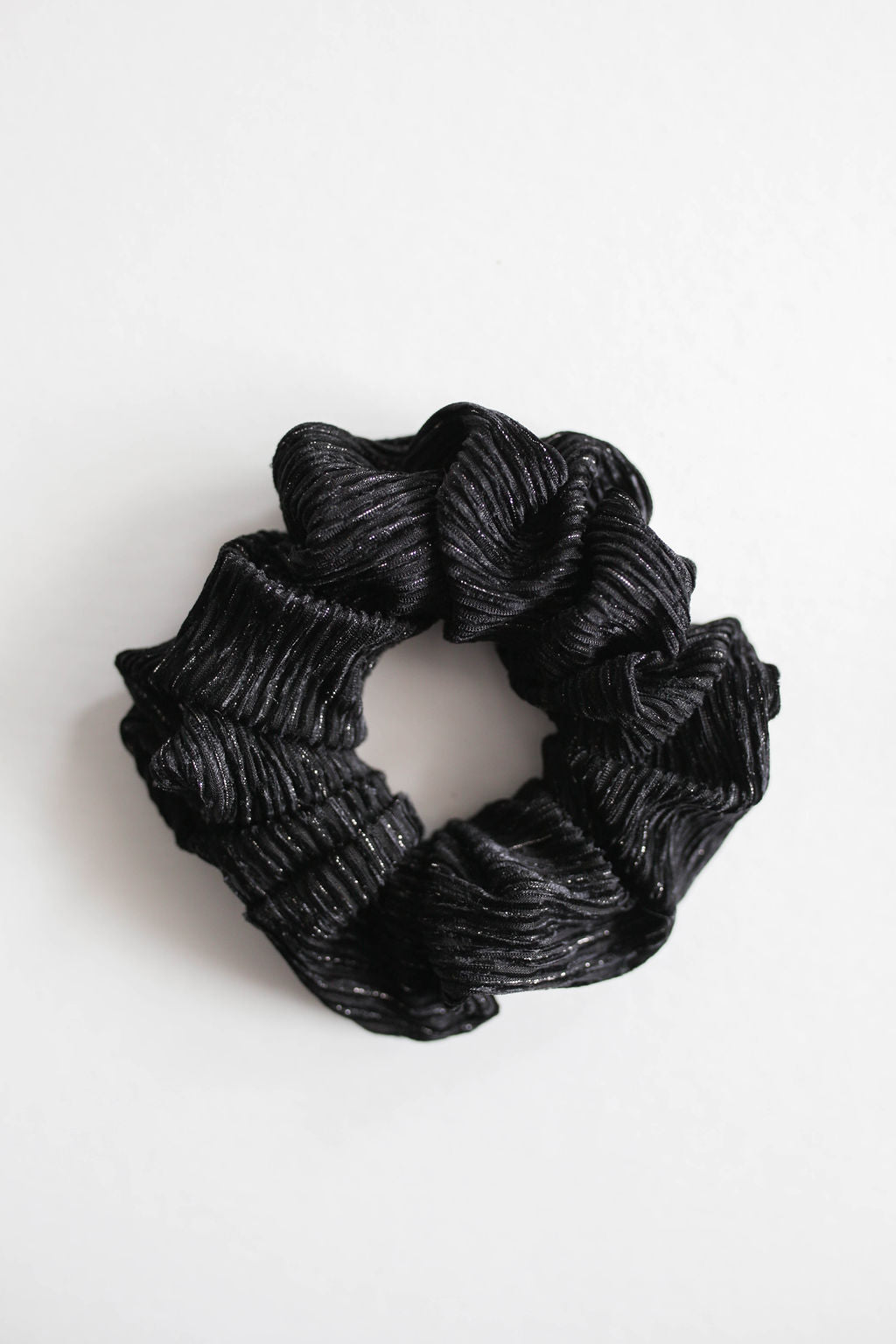 Holiday Black and Silver Crinkle Scrunchie