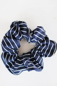 Swimmer Navy White Striped Scrunchie