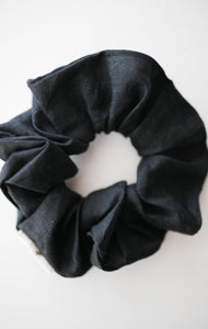 Pure Linen Black Scrunchie