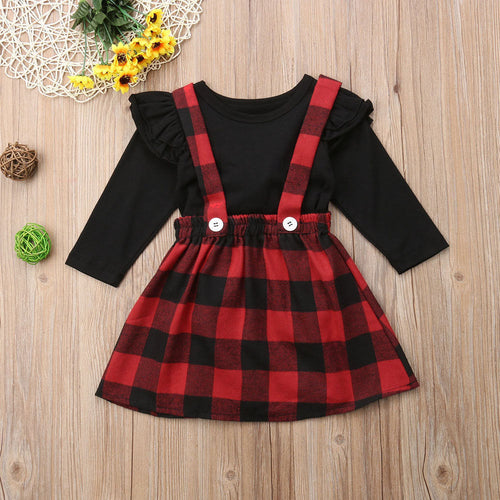 Christmas Baby Girls Clothes Fall Winter T-shirt+Overall Dress Set