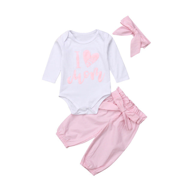 0-24M 3pcs Baby Girls Romper+Long Pants+Headband Cute Outfits Toddler Kid Clothing Set