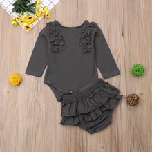 Load image into Gallery viewer, 2Pcs Newborn Baby Girls Ruffles Clothes Romper Bodysuit Long Pants Shorts Outfit